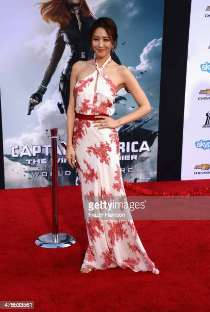 Actress Claudia Kim arrives at the premiere Of Marvel's 'Captain AmericaThe Winter Soldier at the El Capitan Theatre on March 13 2014 in Hollywood...