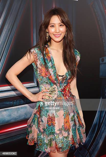 Actress Claudia Kim attends the world premiere of Marvel's 'Avengers Age Of Ultron' at the Dolby Theatre on April 13 2015 in Hollywood California