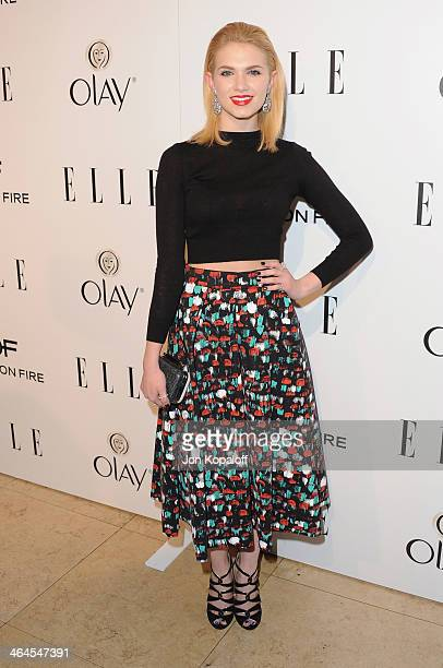 Actress Claudia Lee arrives at the ELLE Women In Television Celebration at Sunset Tower on January 22 2014 in West Hollywood California