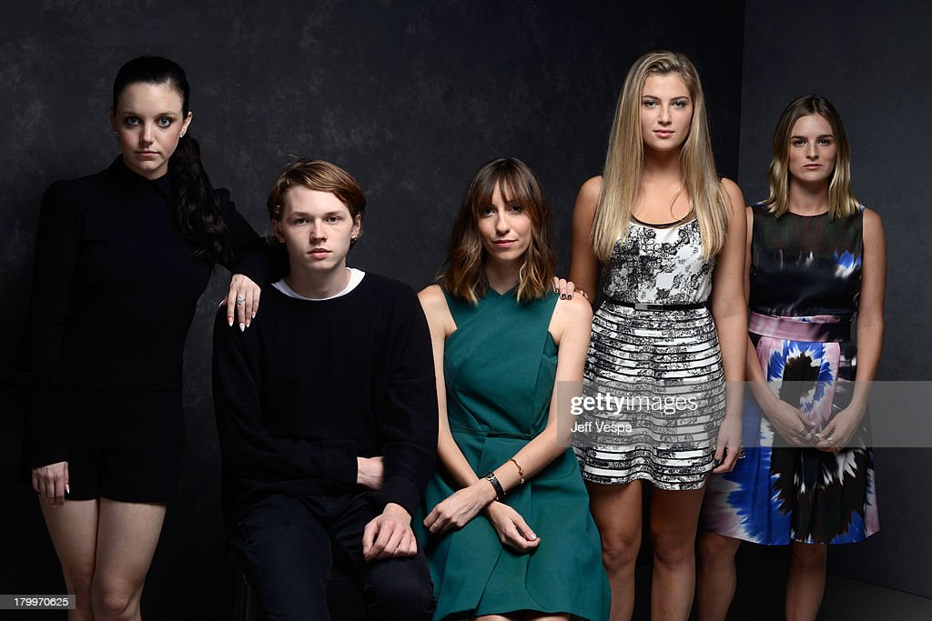 Actress Claudia Levy actor Jack Kilmer director Gia Coppola actress Zoe Levin and actress Nathalie Love of 'Palo Alto' pose at the Guess Portrait...