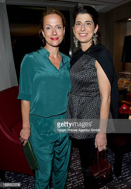 Actress Claudia Michelsen and Designer Dorothee Schumacher attend the Elle Soiree Privee during the MercedesBenz Fashion Week at the Waldorf Astoria...