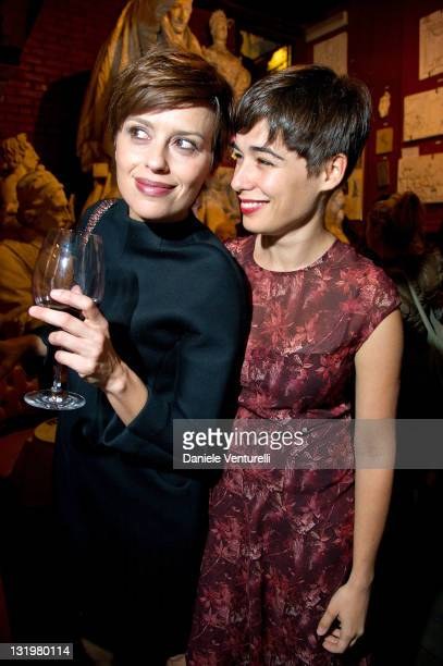Actress Claudia Pandolfi and actress Diane Fleri attends the Anteprima fagship store opening In Rome on November 9 2011 in Rome Italy