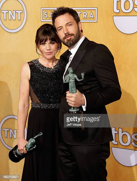 Actress Clea DuVall and actor/director Ben Affleck poses in the press room during the 19th Annual Screen Actors Guild Awards held at The Shrine...