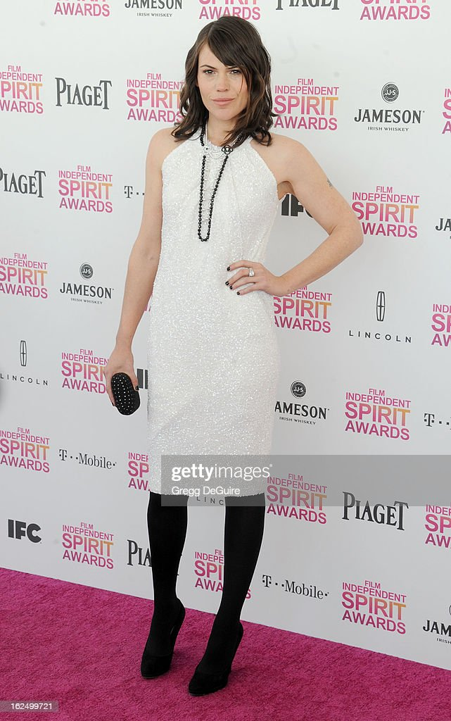 Actress Clea DuVall arrives at the 2013 Film Independent Spirit Awards at Santa Monica Beach on February 23, 2013 in Santa Monica, California.