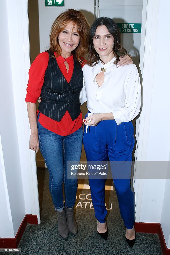 Actress Clementine Celarie presents the TV Series 'Accuse' and Actress Geraldine Pailhas presents the movie 'Disparue en hiver' during the 'Vivement Dimanche' French TV Show at Pavillon Gabriel on January 7, 2015 in Paris, France.