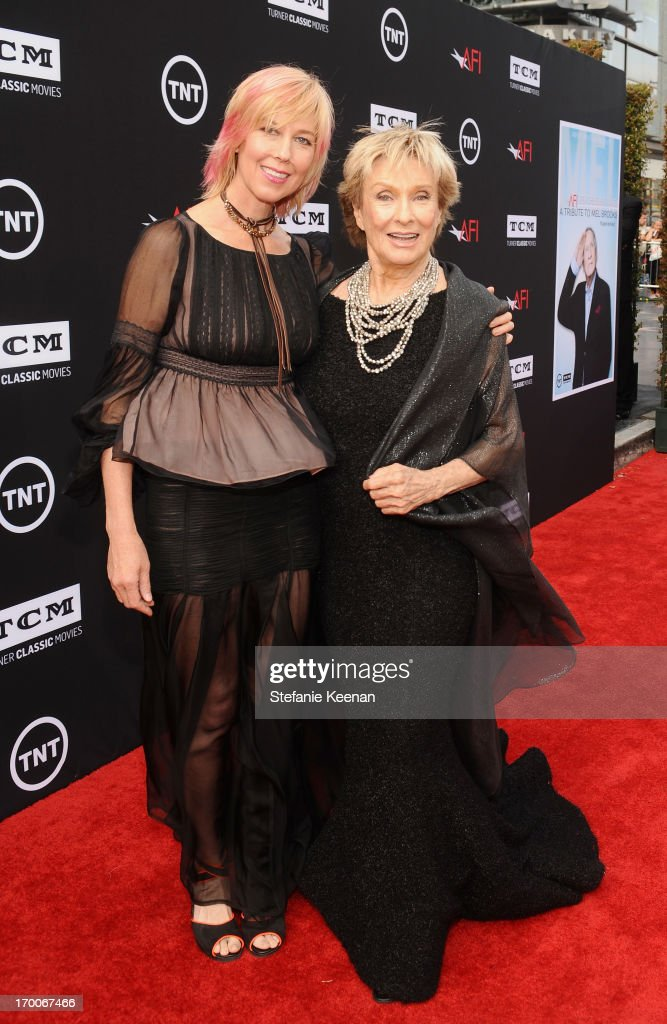 Actress <a gi-track='captionPersonalityLinkClicked' href=/galleries/search?phrase=Cloris+Leachman&family=editorial&specificpeople=204686 ng-click='$event.stopPropagation()'>Cloris Leachman</a> (R) and daughter Dinah Englund attend AFI's 41st Life Achievement Award Tribute to Mel Brooks at Dolby Theatre on June 6, 2013 in Hollywood, California. 23647_003_SK_0731.JPG