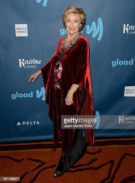 Actress Cloris Leachman arrives at the 24th Annual GLAAD Media Awards at JW Marriott Los Angeles at LA LIVE on April 20 2013 in Los Angeles California