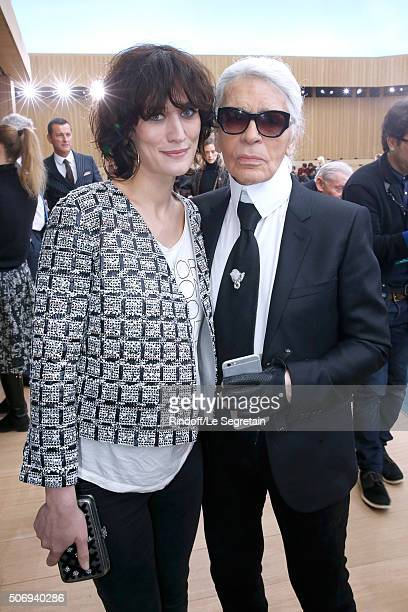 Actress Clotilde Hesme and Stylist Karl Lagerfeld pose after the Chanel Spring Summer 2016 show as part of Paris Fashion Week on January 26 2016 in...