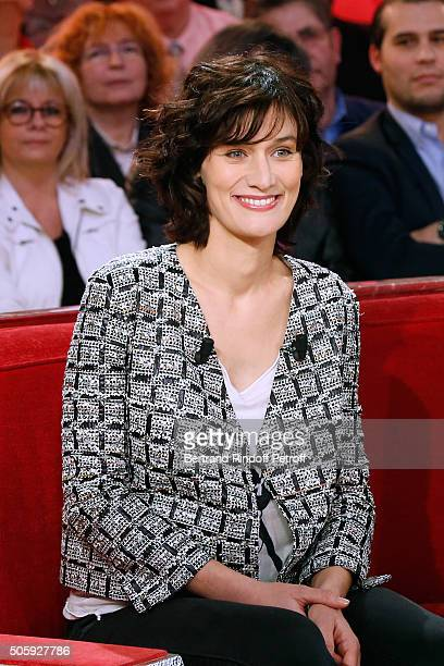 Actress Clotilde Hesme presents the movie 'Chocolat' during the 'Vivement Dimanche' French TV Show at Pavillon Gabriel on January 20 2016 in Paris...