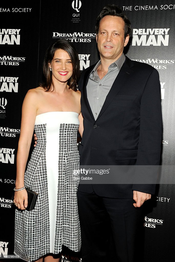 Actress <a gi-track='captionPersonalityLinkClicked' href=/galleries/search?phrase=Cobie+Smulders&family=editorial&specificpeople=739940 ng-click='$event.stopPropagation()'>Cobie Smulders</a> (L) and actor <a gi-track='captionPersonalityLinkClicked' href=/galleries/search?phrase=Vince+Vaughn&family=editorial&specificpeople=182440 ng-click='$event.stopPropagation()'>Vince Vaughn</a> attend DreamWorks Pictures & The Cinema Society host a screening of 'Delivery Man' at the Paley Center For Media on November 17, 2013 in New York City.