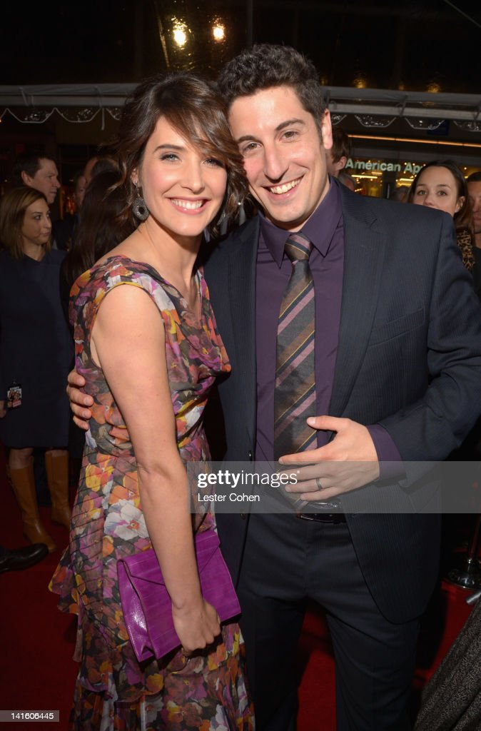 Actress Cobie Smulders and Actor/Executive Producer Jason Biggs arrive at the 'American Reunion' Los Angeles Premiere March 19 2012 in Hollywood...