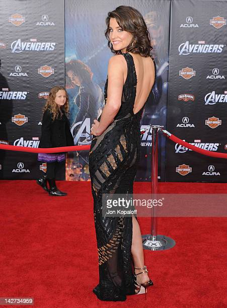 Actress Cobie Smulders arrives at the Los Angeles Premiere of 'The Avengers' at the El Capitan Theatre on April 11 2012 in Hollywood California