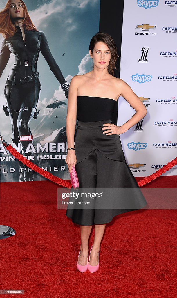 Actress Cobie Smulders arrives at the premiere Of Marvel's 'Captain America:The Winter Soldier at the El Capitan Theatre on March 13, 2014 in Hollywood, California.