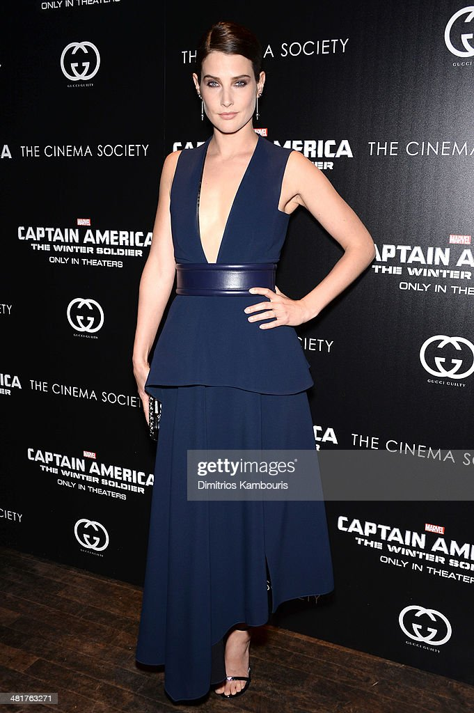 Actress <a gi-track='captionPersonalityLinkClicked' href=/galleries/search?phrase=Cobie+Smulders&family=editorial&specificpeople=739940 ng-click='$event.stopPropagation()'>Cobie Smulders</a> attends The Cinema Society & Gucci Guilty screening of Marvel's 'Captain America: The Winter Soldier' at Tribeca Grand Hotel on March 31, 2014 in New York City.
