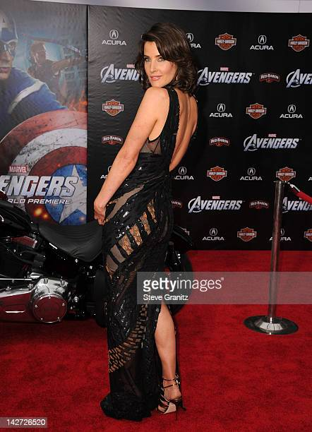 Actress Cobie Smulders attends the Los Angeles premiere of 'Marvel's Avengers' at the El Capitan Theatre on April 11 2012 in Hollywood California