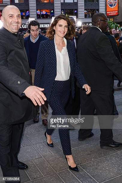 Actress Cobie Smulders enters the 'Good Morning America' taping at the ABC Times Square Studios on April 29 2015 in New York City