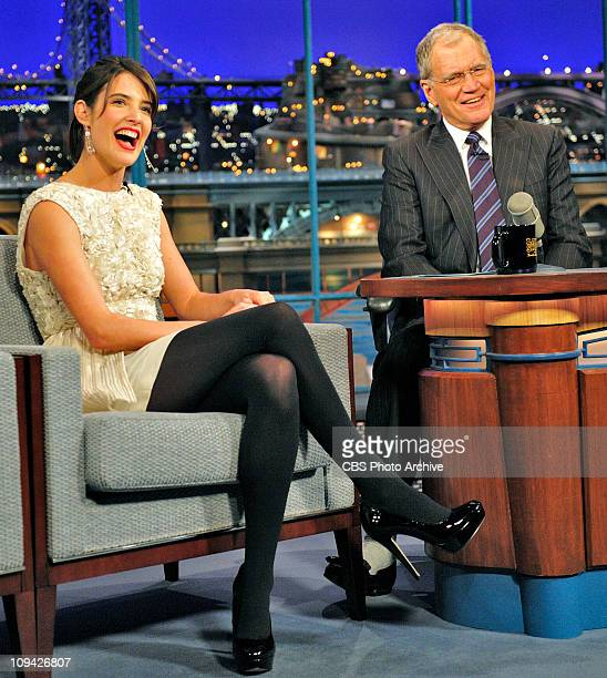 Actress Cobie Smulders of the CBS show 'How I Met Your Mother' talks about her early stage career with Late Show host David Letterman during Monday's...
