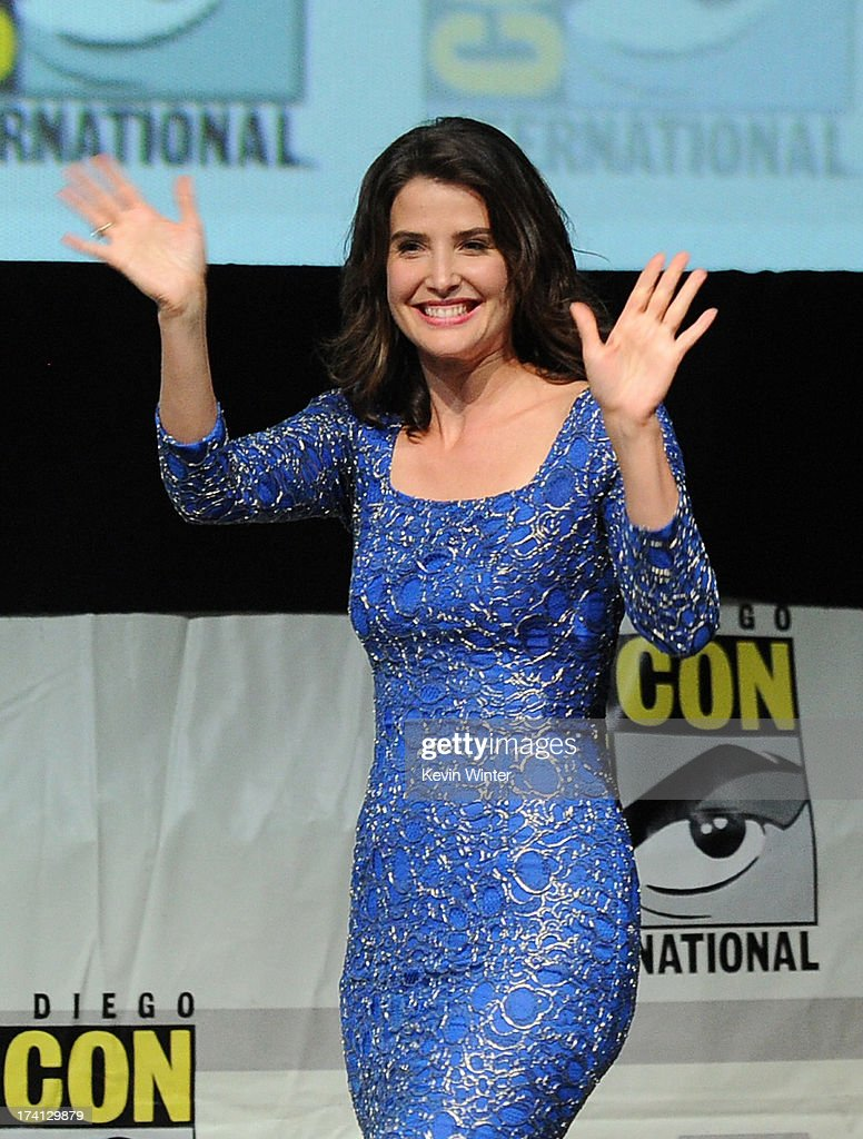 Actress <a gi-track='captionPersonalityLinkClicked' href=/galleries/search?phrase=Cobie+Smulders&family=editorial&specificpeople=739940 ng-click='$event.stopPropagation()'>Cobie Smulders</a> speaks onstage at Marvel Studios 'Thor: The Dark World' and 'Captain America: The Winter Soldier' during Comic-Con International 2013 at San Diego Convention Center on July 20, 2013 in San Diego, California.
