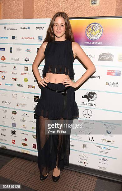 Actress Coco Konig attends the world premiere of 'The Carer' at the 27th Annual Palm Springs International Film Festival on January 3 2016 in Palm...
