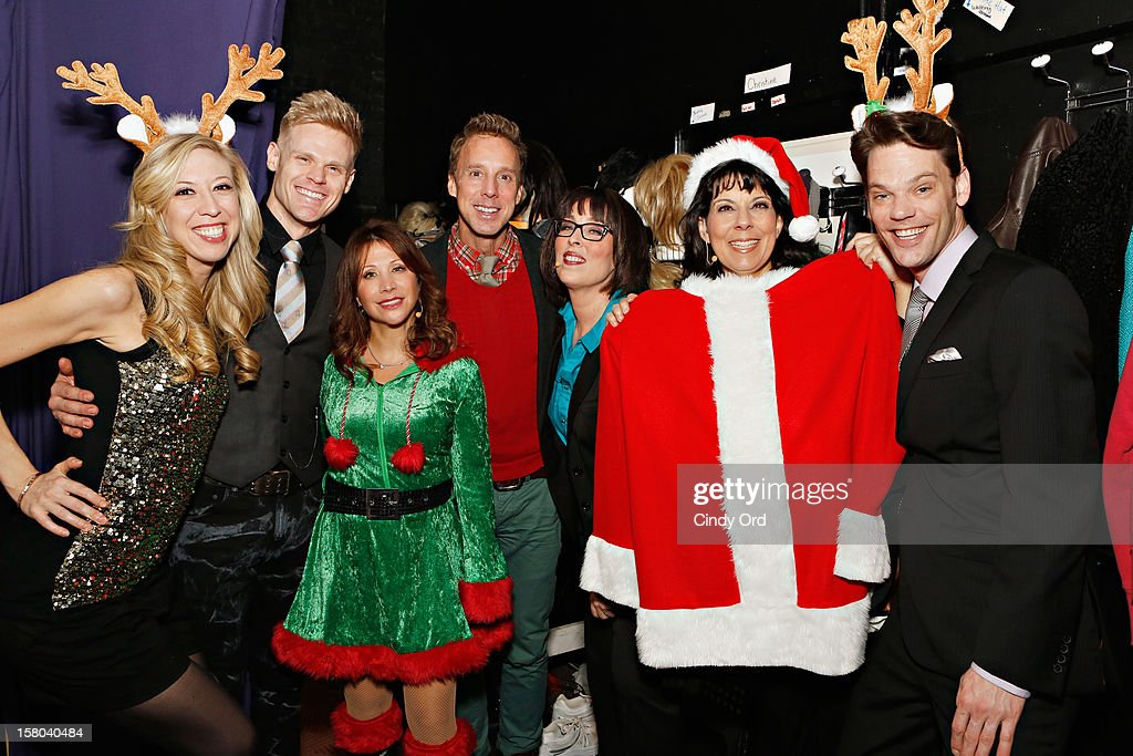 Actress/ comedienne Cheri Oteri (3rd left) poses backstage with the cast (L-R) Emily McNamara, Tommy Walker, Michael West, Susan Mosher, Christine Pedi and Ryan Knowles prior to her debut in 'Newsical The Musical' on December 9, 2012 in New York City.