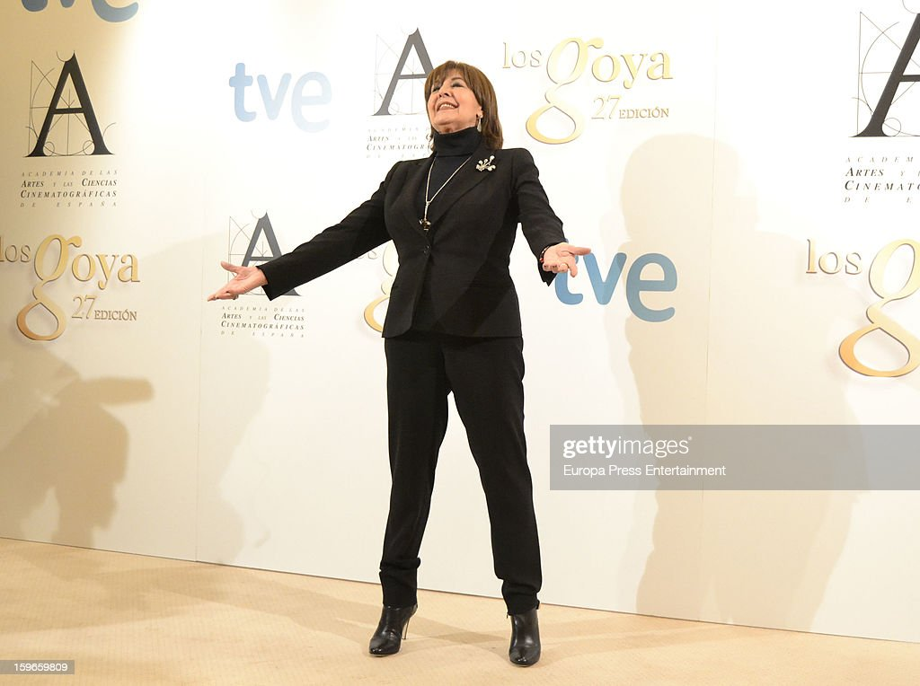 Actress <a gi-track='captionPersonalityLinkClicked' href=/galleries/search?phrase=Concha+Velasco&family=editorial&specificpeople=605758 ng-click='$event.stopPropagation()'>Concha Velasco</a> attends Goya honorary press conference photocall at Hesperia Hotel on January 17, 2013 in Madrid, Spain.