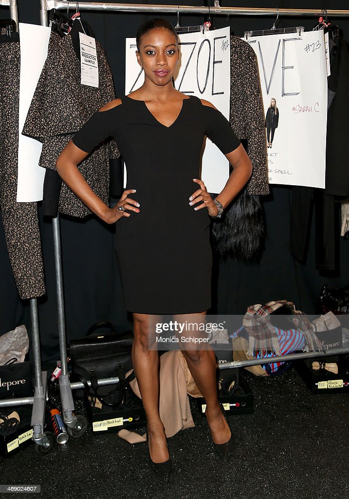 Actress Condola Rashad poses backstage at the Nanette Lepore fashion show during MercedesBenz Fashion Week Fall 2014 at The Salon at Lincoln Center...