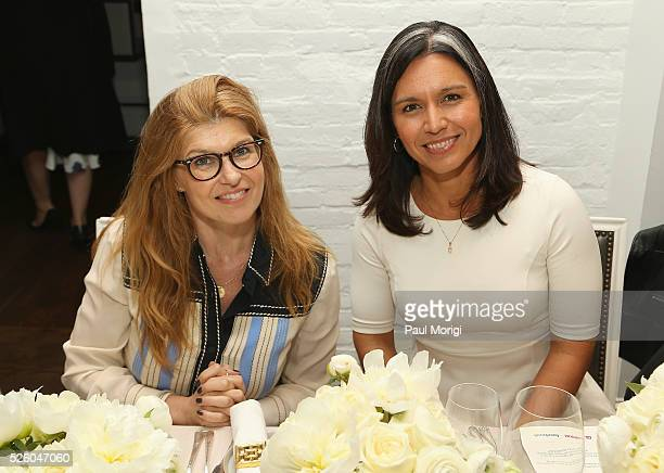 Actress Connie Britton and Congresswoman Tulsi Gabbard attend the Glamour and Facebook brunch to discuss sexism in 2016 during WHCD Weekend at...