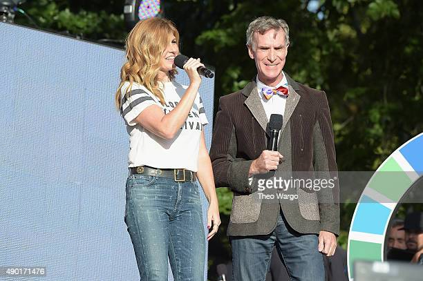Actress Connie Britton and educator Bill Nye speak on stage at the 2015 Global Citizen Festival to end extreme poverty by 2030 in Central Park on...