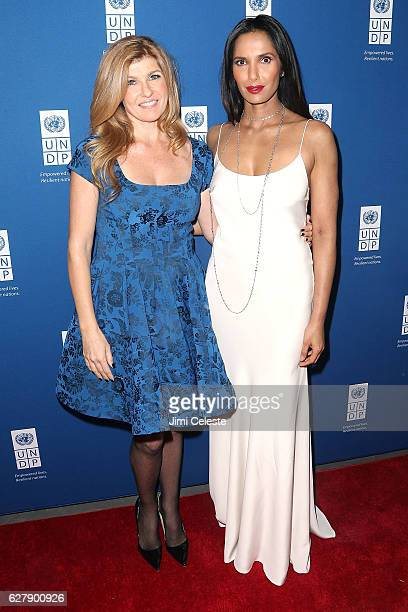 Actress Connie Britton and Padma Lakshmi attends the United Nations Development Programme Inaugural Global Goals Gala at Phillips on December 5 2016...