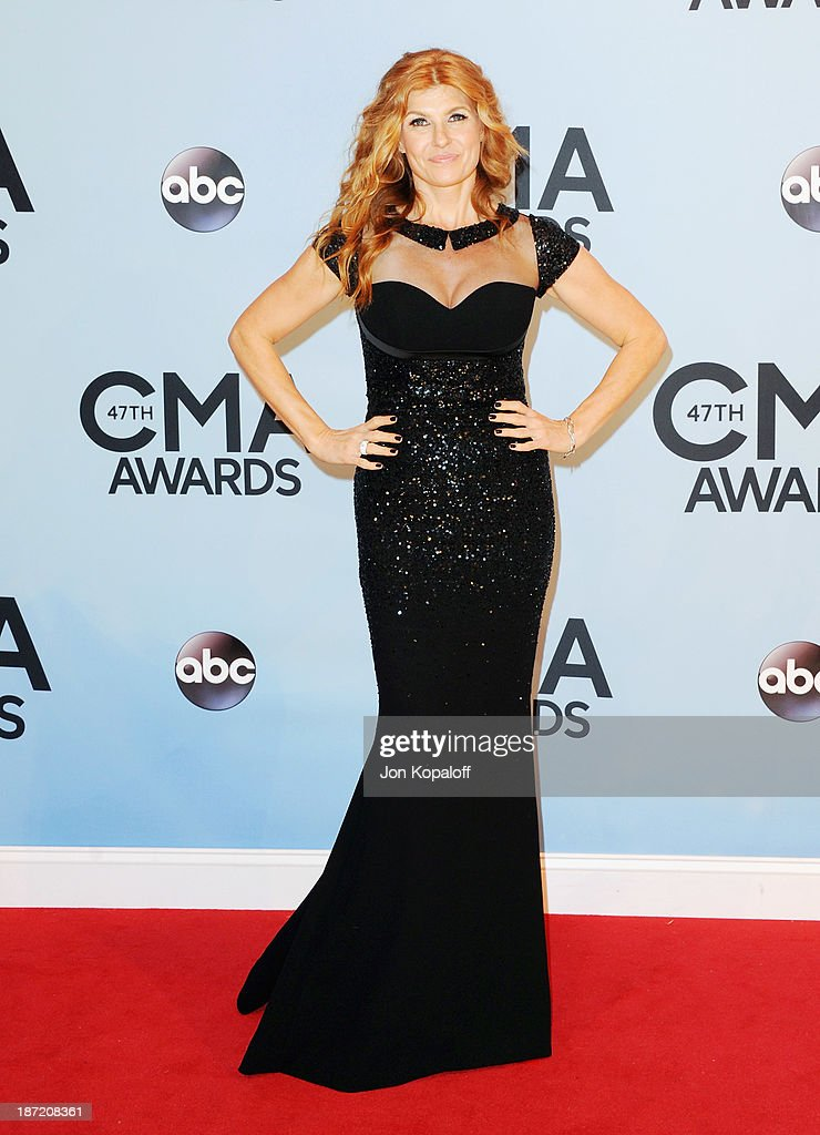 Actress <a gi-track='captionPersonalityLinkClicked' href=/galleries/search?phrase=Connie+Britton&family=editorial&specificpeople=234699 ng-click='$event.stopPropagation()'>Connie Britton</a> attends the 47th annual CMA Awards at the Bridgestone Arena on November 6, 2013 in Nashville, Tennessee.