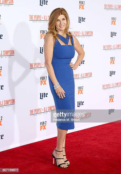 Actress Connie Britton attends the premiere of FX's 'American Crime Story The People V OJ Simpson' at Westwood Village Theatre on January 27 2016 in...