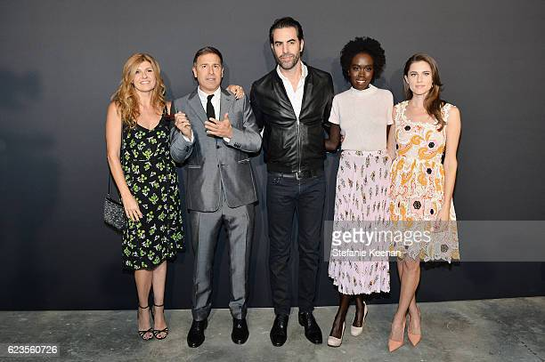 Actress Connie Britton director David O Russell actor Sacha Baron Cohen actress Kuoth Wiel and actress Allison Williams attend the premiere of 'Past...