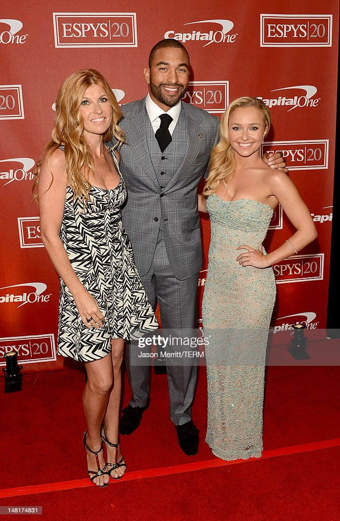 Actress <a gi-track='captionPersonalityLinkClicked' href=/galleries/search?phrase=Connie+Britton&family=editorial&specificpeople=234699 ng-click='$event.stopPropagation()'>Connie Britton</a>, MLB player <a gi-track='captionPersonalityLinkClicked' href=/galleries/search?phrase=Matt+Kemp&family=editorial&specificpeople=567161 ng-click='$event.stopPropagation()'>Matt Kemp</a> of the Los Angeles Dodgers and actress <a gi-track='captionPersonalityLinkClicked' href=/galleries/search?phrase=Hayden+Panettiere&family=editorial&specificpeople=204227 ng-click='$event.stopPropagation()'>Hayden Panettiere</a> pose backstage during the 2012 ESPY Awards at Nokia Theatre L.A. Live on July 11, 2012 in Los Angeles, California.