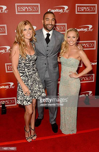 Actress Connie Britton MLB player Matt Kemp of the Los Angeles Dodgers and actress Hayden Panettiere pose backstage during the 2012 ESPY Awards at...