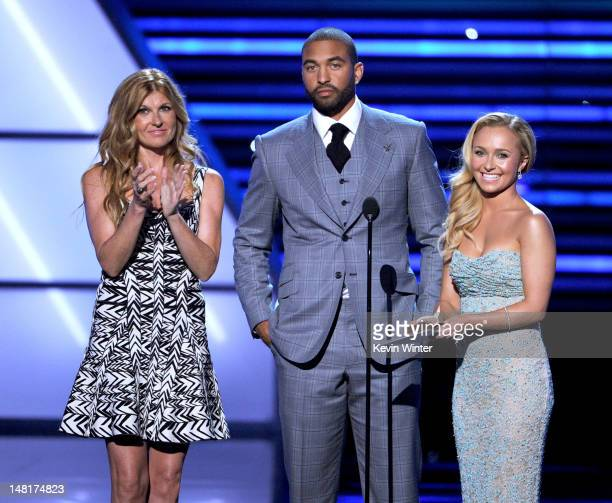Actress Connie Britton Professional baseball player Matt Kemp of the Los Angeles Dodgers and actress Hayden Panettiere speak onstage during the 2012...