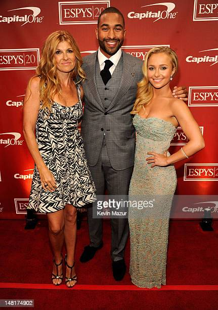 Actress Connie Britton professional baseball player Matt Kemp of the Los Angeles Dodgers and actress Hayden Panettiere attend the 2012 ESPY Awards at...