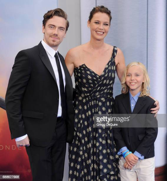 Actress Connie Nielsen sons Sebastian Sartor and Bryce Thadeus UlrichNielsen arrive at the premiere of Warner Bros Pictures' 'Wonder Woman' at the...