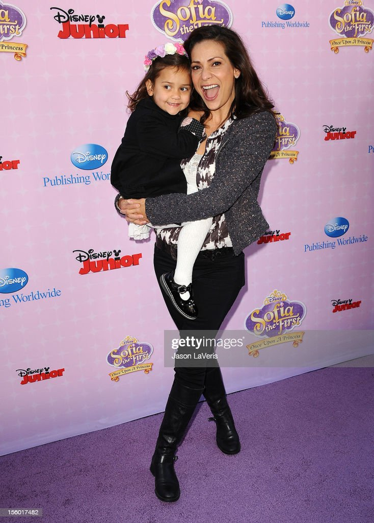 Actress <a gi-track='captionPersonalityLinkClicked' href=/galleries/search?phrase=Constance+Marie&family=editorial&specificpeople=204646 ng-click='$event.stopPropagation()'>Constance Marie</a> and daughter Luna Marie Katich attend the premiere of 'Sofia The First: Once Upon a Princess' at Walt Disney Studios on November 10, 2012 in Burbank, California.