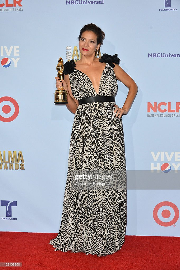 Actress Constance Marie poses in the press room during the 2012 NCLR ALMA Awards at Pasadena Civic Auditorium on September 16, 2012 in Pasadena, California.