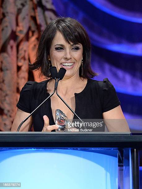 Actress Constance Zimmer accepts the Television Episodic Drama Award onstage during the 23rd Annual Environmental Media Awards presented by Toyota...