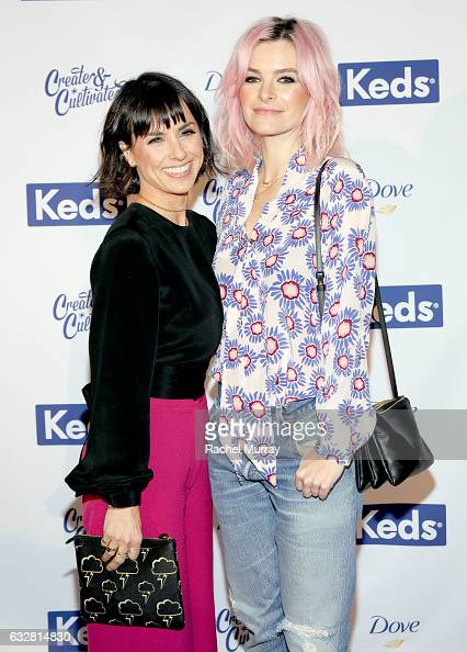Actress Constance Zimmer and Actress/Writer Kelly Oxford attend Create Cultivate 100 hosted by Create Cultivate and Keds at The Greenhouse on January...