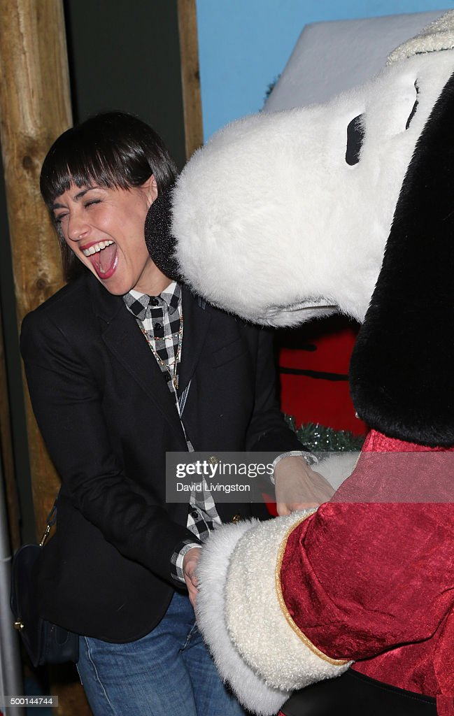 Actress Constance Zimmer and Snoopy attend Knott's Berry Farm's Countdown To Christmas And Snoopy's Merriest Tree Lighting at Knott's Berry Farm on...