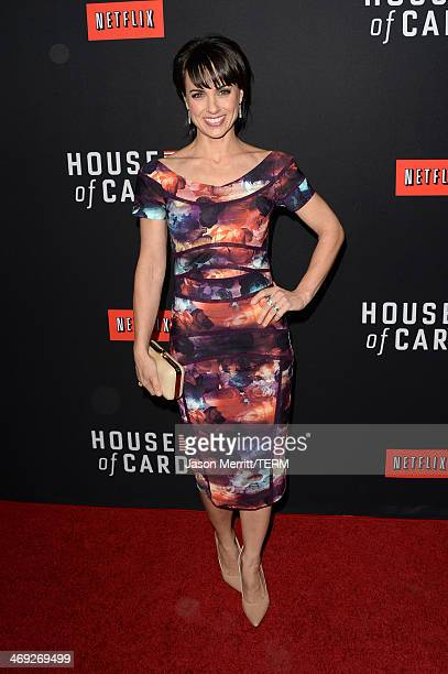 Actress Constance Zimmer arrives at the special screening of Netflix's 'House of Cards' Season 2 at the Directors Guild of America on February 13...
