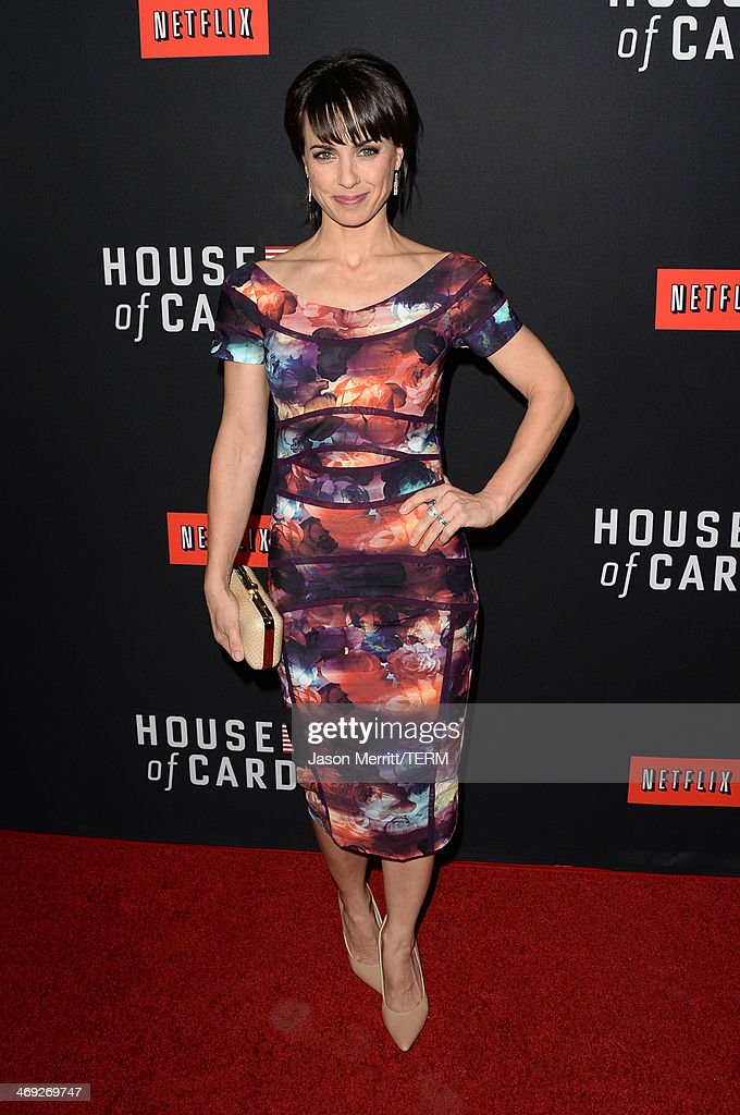 Actress Constance Zimmer arrives at the special screening of Netflix's 'House of Cards' Season 2 at the Directors Guild of America on February 13, 2014 in Los Angeles, California.