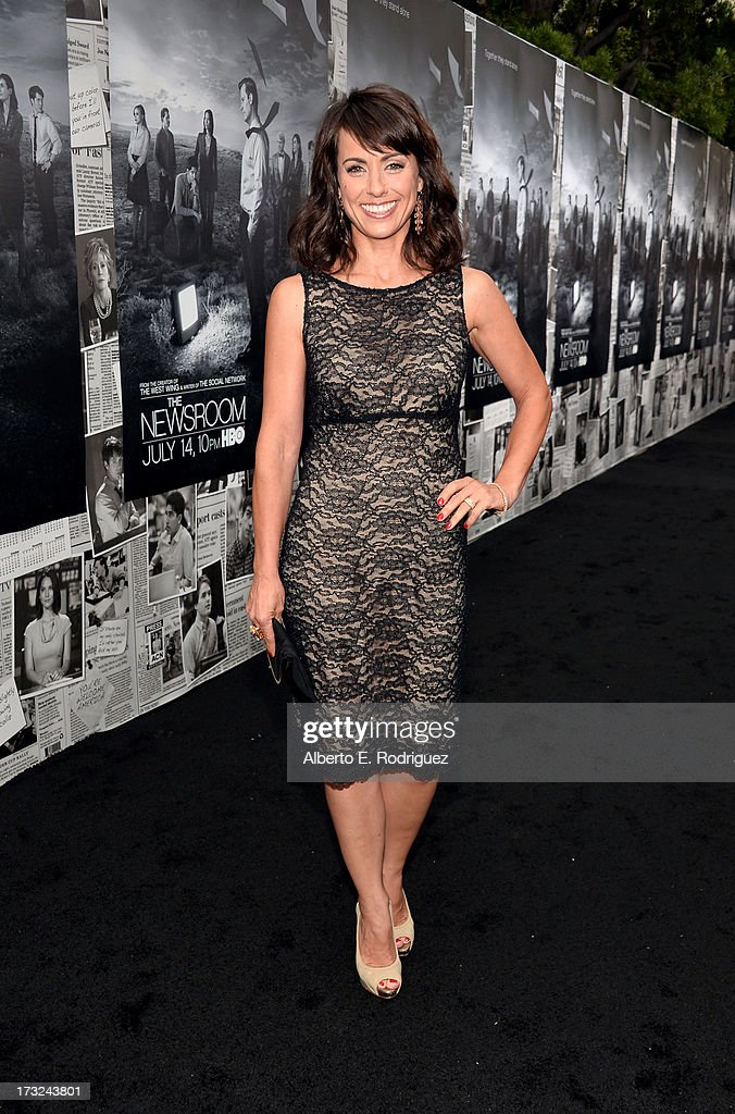 Actress <a gi-track='captionPersonalityLinkClicked' href=/galleries/search?phrase=Constance+Zimmer&family=editorial&specificpeople=217359 ng-click='$event.stopPropagation()'>Constance Zimmer</a> arrives for the premiere of HBO's 'The Newsroom' Season 2 at Paramount Theater on the Paramount Studios lot on July 10, 2013 in Hollywood, California.