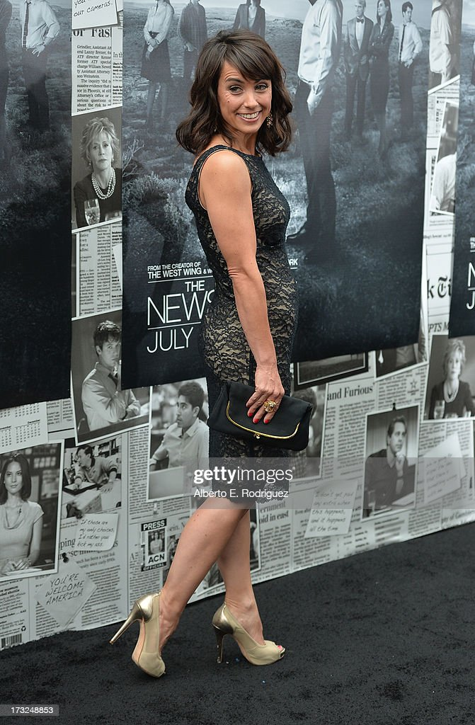Actress Constance Zimmer arrives for the premiere of HBO's 'The Newsroom' Season 2 at Paramount Theater on the Paramount Studios lot on July 10, 2013 in Hollywood, California.