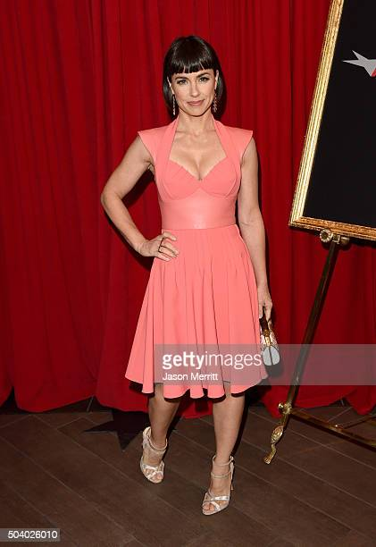 Actress Constance Zimmer attends the 16th Annual AFI Awards at Four Seasons Hotel Los Angeles at Beverly Hills on January 8 2016 in Beverly Hills...