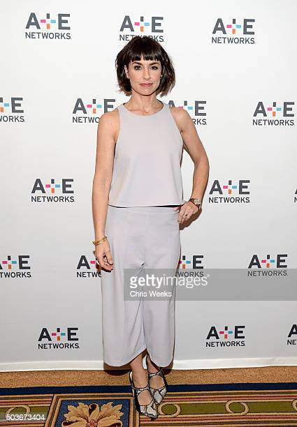 Actress Constance Zimmer attends the AE Networks 2016 Television Critics Association Press Tour for UnREAL at The Langham Huntington Hotel and Spa on...