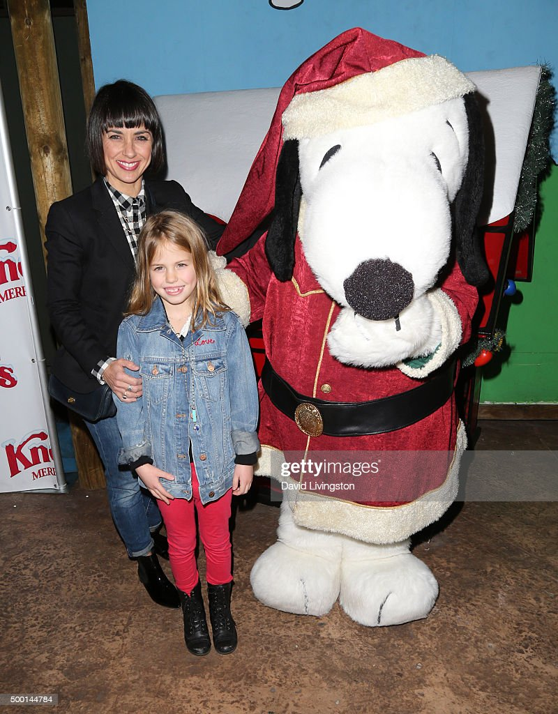 Actress Constance Zimmer Colette Lamoureux and Snoopy attend Knott's Berry Farm's Countdown To Christmas And Snoopy's Merriest Tree Lighting at...