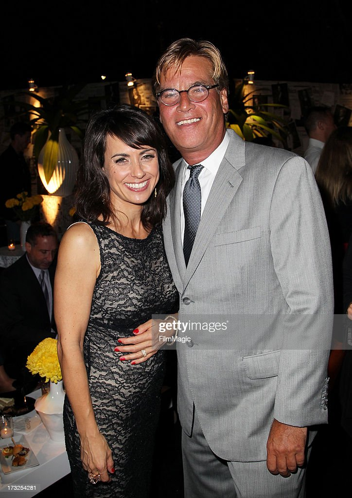Actress <a gi-track='captionPersonalityLinkClicked' href=/galleries/search?phrase=Constance+Zimmer&family=editorial&specificpeople=217359 ng-click='$event.stopPropagation()'>Constance Zimmer</a> (L) Creator/Exectuive Producer <a gi-track='captionPersonalityLinkClicked' href=/galleries/search?phrase=Aaron+Sorkin&family=editorial&specificpeople=673535 ng-click='$event.stopPropagation()'>Aaron Sorkin</a> attend the after party for HBO's 'The Newsroom' season 2 premiere at Paramount Studios on July 10, 2013 in Hollywood, California.